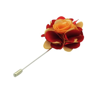 Broche Fleur bicolore Beige et Rouge pour boutonnière de costume homme