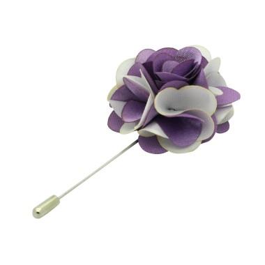 Broche Fleur bicolore Parme et Blanc pour boutonnière de costume homme