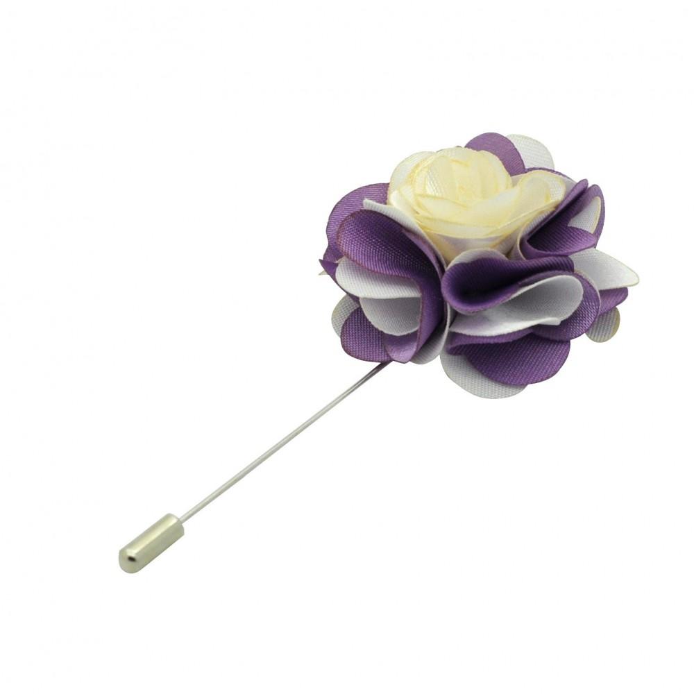 Broche Fleur bicolore Blanc et Parme pour boutonnière de costume homme