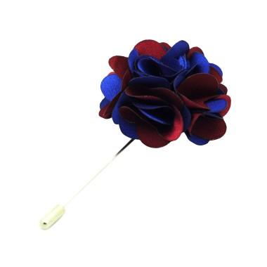 Broche Fleur bicolore Bleu et Bordeaux pour boutonnière de costume homme