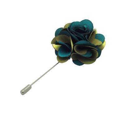 Broche Fleur bicolore Vert et Kaki pour boutonnière de costume homme