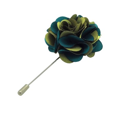 Broche Fleur bicolore Kaki et Vert pour boutonnière de costume homme