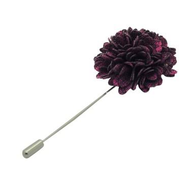 Broche Pompon Violet prune pour boutonnière de costume homme