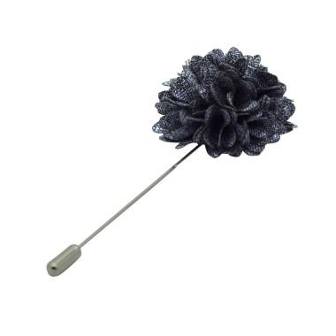 Broche Pompon Gris bleu pour boutonnière de costume homme
