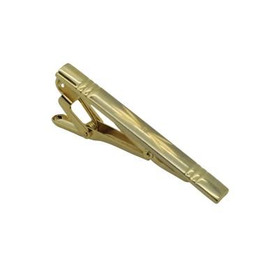 Pince à cravate dorée. Rainuré et motif, bout carré