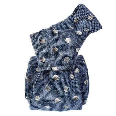 Cravate Classique soie/coton. Bleu à pois beige
