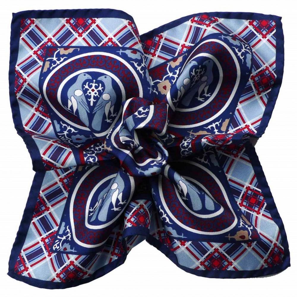 Pochette de costume Soie Bleu et Bordeaux à carreaux et Animaux