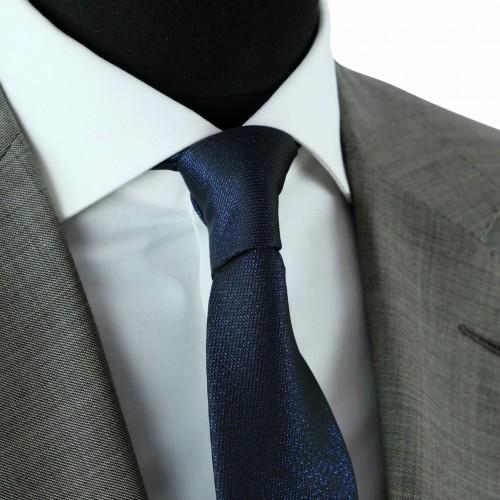 Cravate Classique Homme Effet Brilliant. Bleu Marine