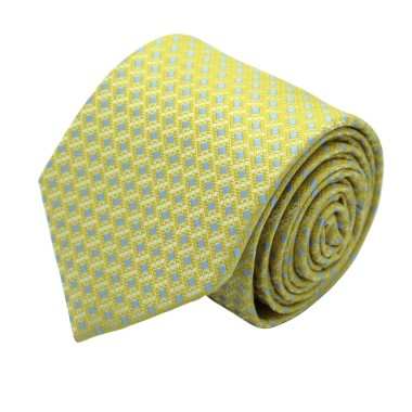 Cravate Classique Homme. Jaune à motifs