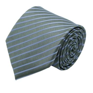 Cravate Classique Homme. Gris à rayures violettes