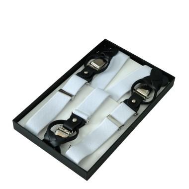 Bretelles pour homme à Pinces ou Boutons. Blanc