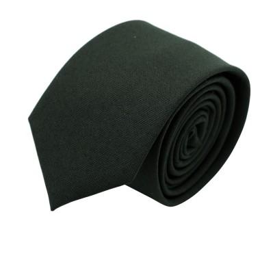 Cravate Slim Homme Coton/Lin Noire unie