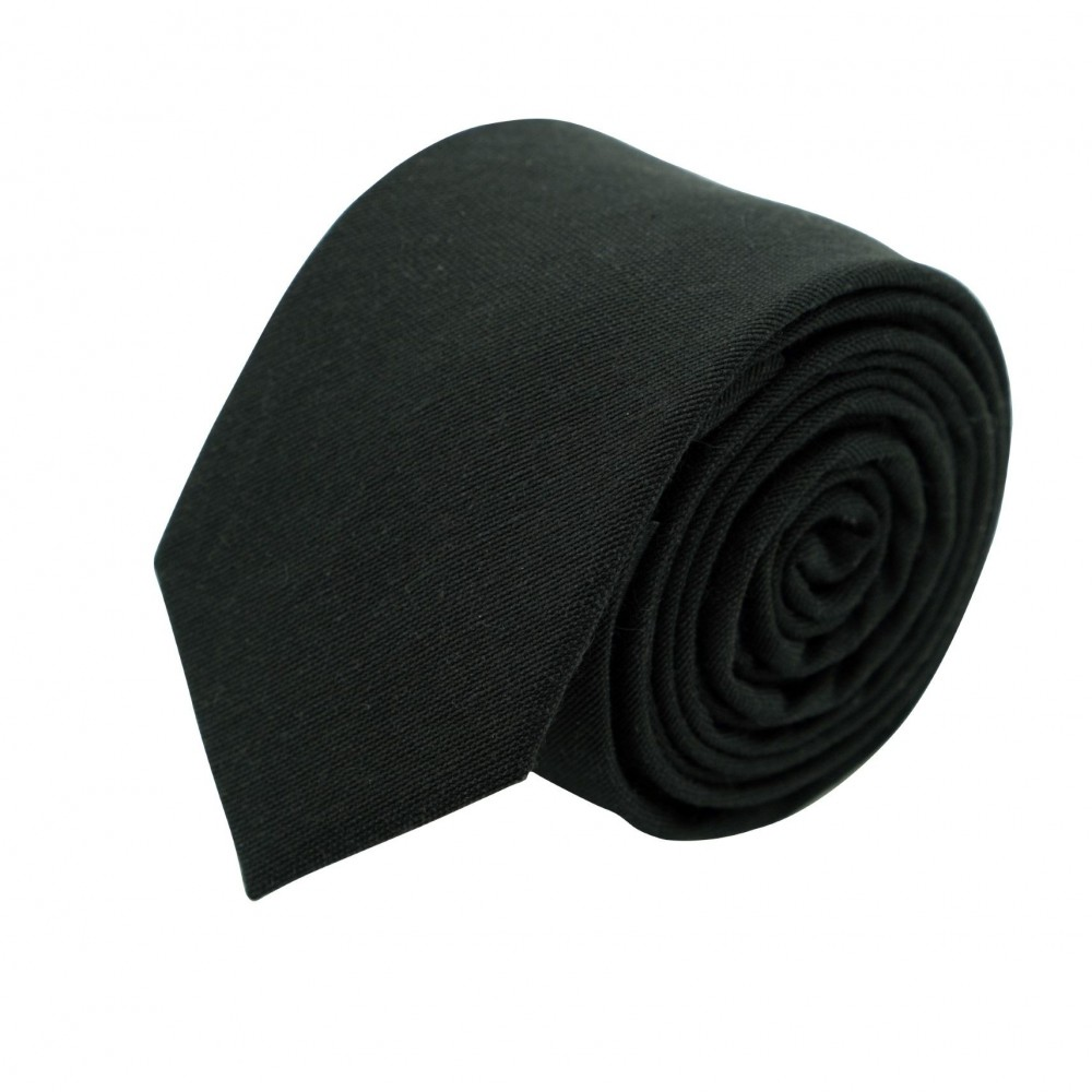 Cravate Slim Homme Coton/Lin unie Noire