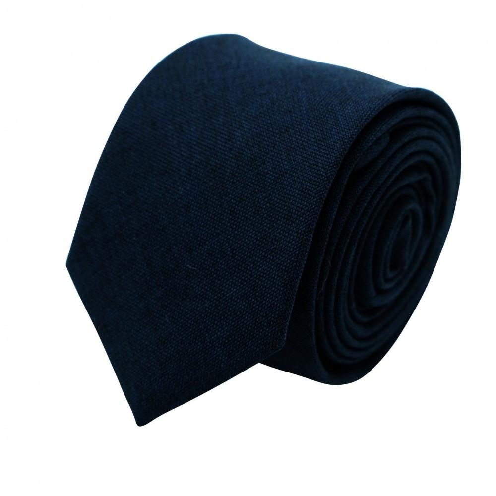 Cravate Slim Homme Coton/Lin Bleue Marine