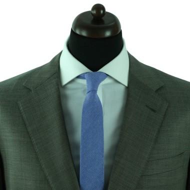 Cravate Slim Homme Coton/Lin Bleue