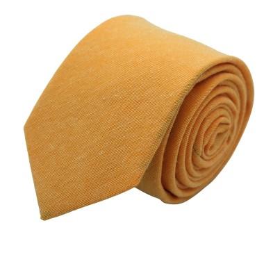 Cravate Slim Homme Coton/Lin Orange