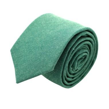 Cravate Slim Homme Coton/Lin Verte