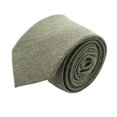 Cravate Slim Homme Coton/Lin Taupe