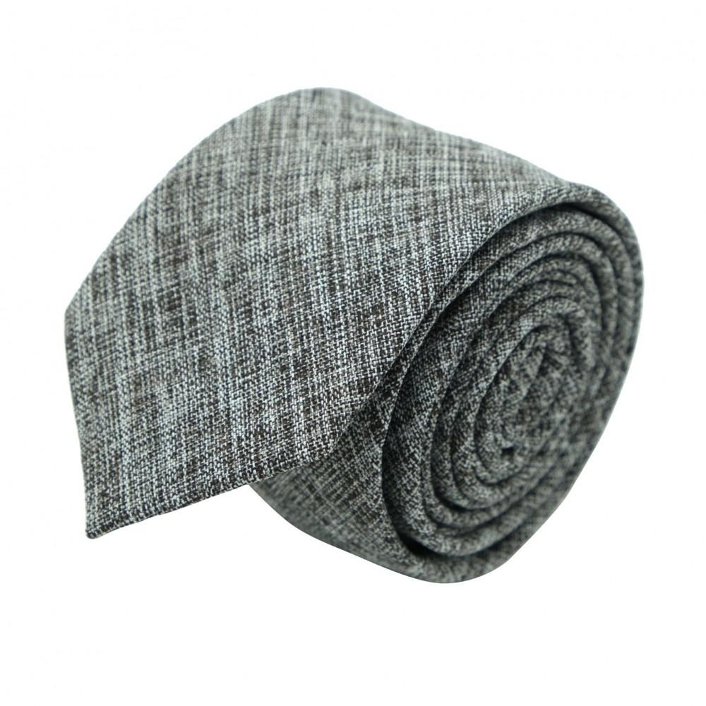 Cravate Slim Homme Coton/Lin Grise chinée