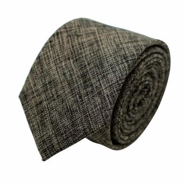Cravate Slim Homme Coton/Lin Marron chinée