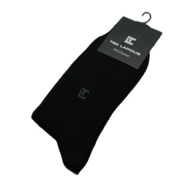 Chaussettes Fil d'Ecosse. Noir uni et logo
