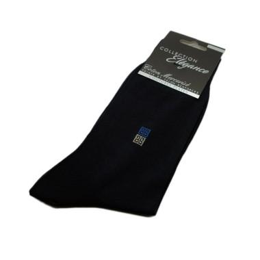 Chaussettes en Coton Mercerisé. Bleu marine et motifs