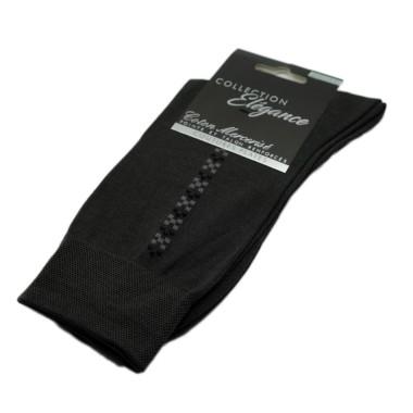 Chaussettes en Coton Mercerisé. Gris et motifs carrés