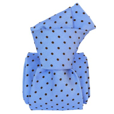 Cravate homme made in Italie. Bleu ciel à pois