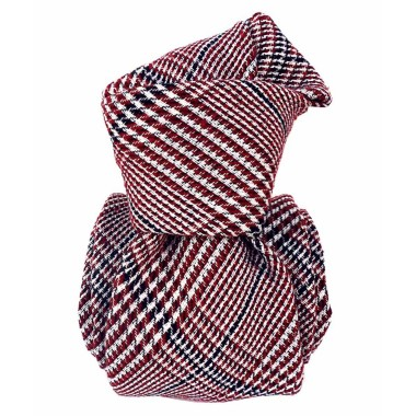 Cravate homme made in Italie. Tartan bordeaux