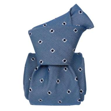 Cravate homme made in Italie. Bleu ciel à motifs carrés