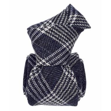 Cravate homme made in Italie. Tartan bleu marine. Lin