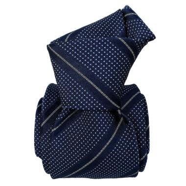 Cravate homme made in Italie. 6-Plis fait à la main. Marine à rayures