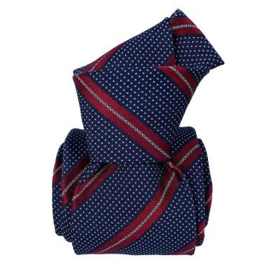 Cravate homme made in Italie. 6-Plis fait à la main. Marine à rayures rouges