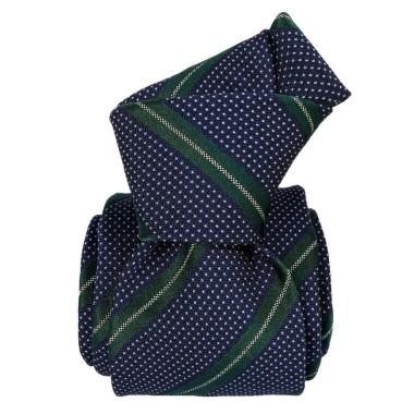 Cravate homme made in Italie. 6-Plis fait à la main. Marine à rayures vertes