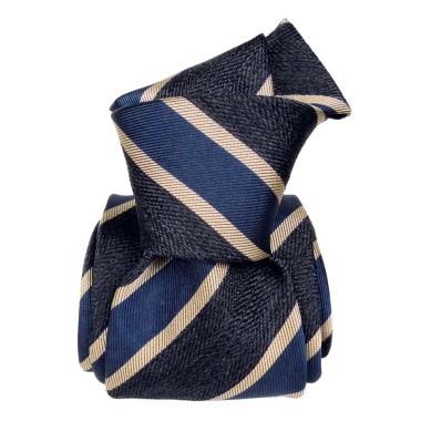 Cravate homme made in Italie. 3-Plis Luxury. Marine à grandes rayures bleus