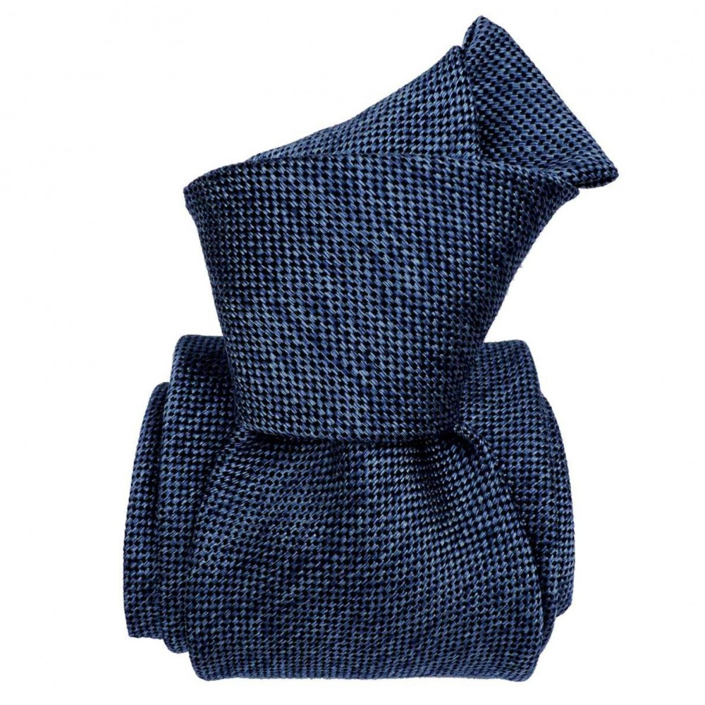 Cravate homme made in Italie. 3-Plis Luxury. Bleu Soie/Coton